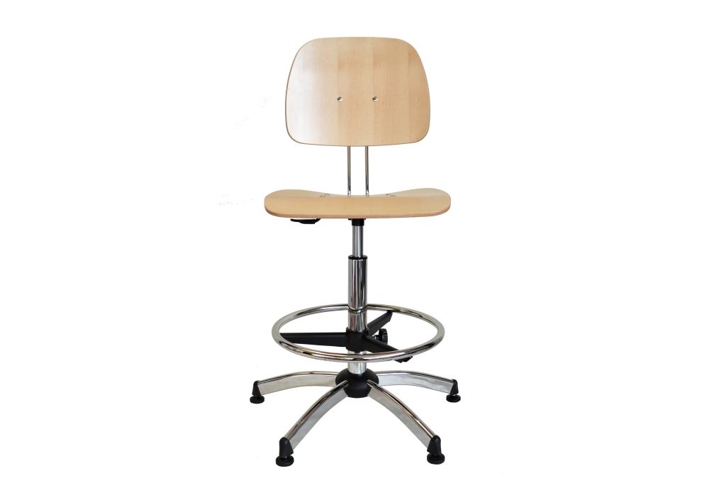 Sgabello regolabile con seduta e schienale in legno di faggio uni