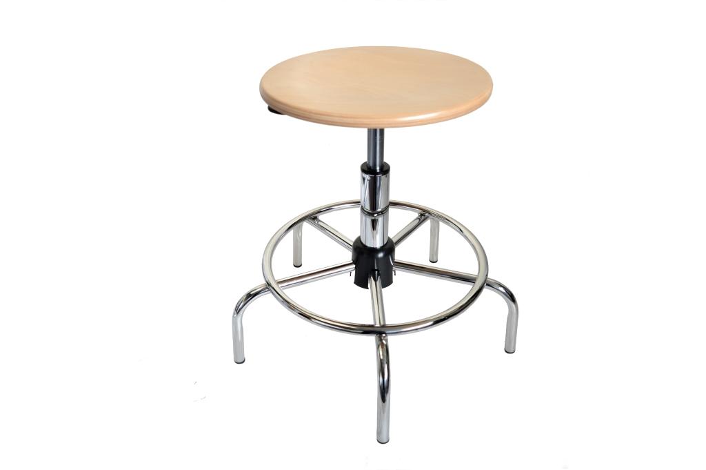 Sgabello regolabile con seduta in legno di faggio uni form srl